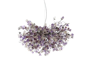 Flowers Hanging chandeliers with violet, gray and clear flowers for Dining Room, chandelier for bedroom or living room, statement lighting
