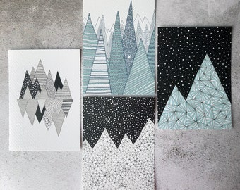 Set of 4 mountain cards / A6 art prints / Festive prints / Mini art print / Christmas cards / Contemporary art / Postcards / Black and white