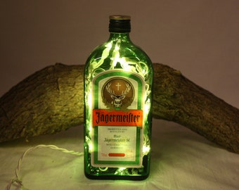 Liquor Bottle Light, Upcycled Jagermeister Liquor Bottle, Decor for Mancave, Bar Lighting