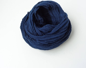 Navy Blue scarf, navy blue  long scarf, handmade scarf, navy blue cotton scarf, men women scarf