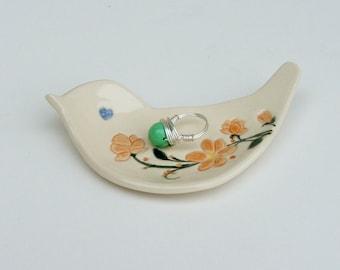 Ceramic bird shape dish / Plate Hand Built, Orange Blossoms