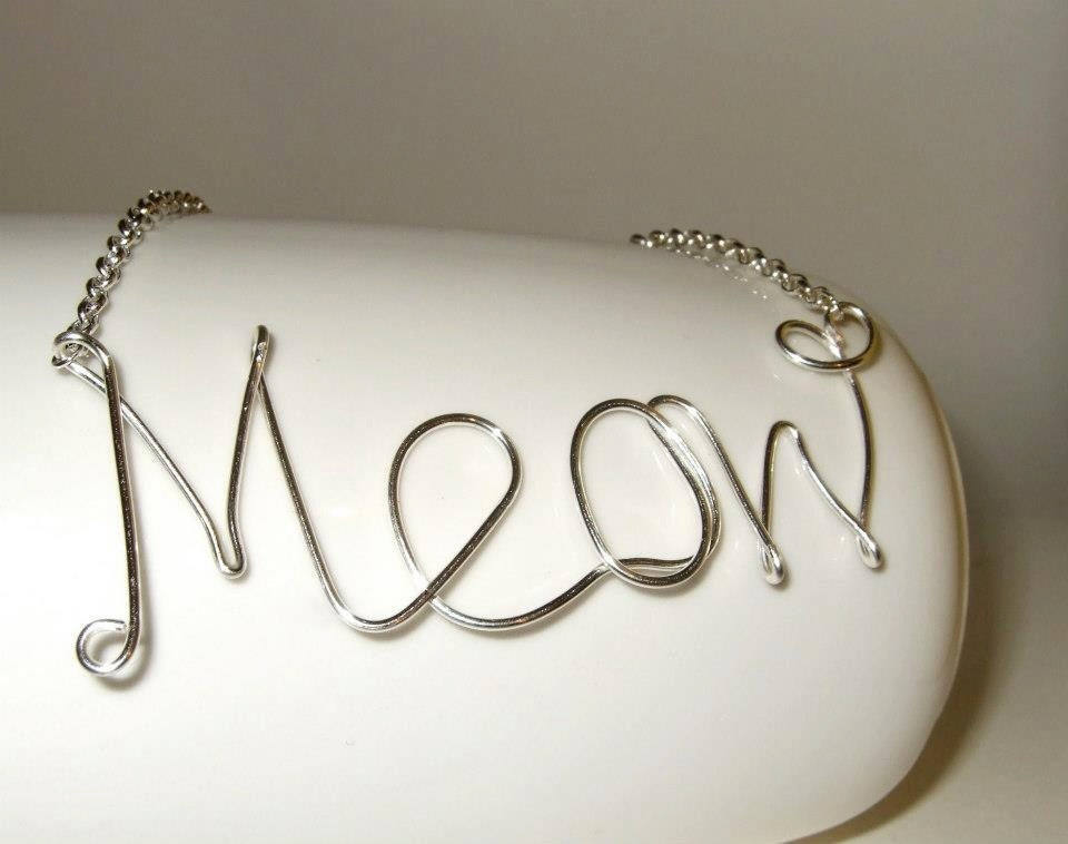 Meow Necklace Wire Writing Cat Jewelry Cursive Necklace