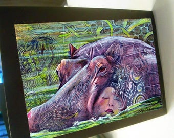 greeting card zentangle hippopotamus woman hippo blank card