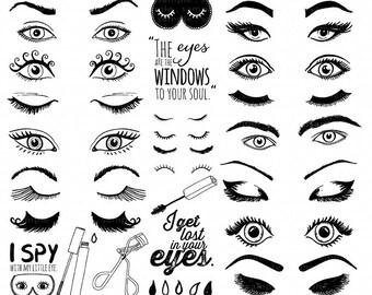 Eye ClipArt Images, Eyelash Graphic Design, Trendy Woman Beauty Logo, Makeup Clip Art,  Girl Power Digital Images, Instant Download PNG