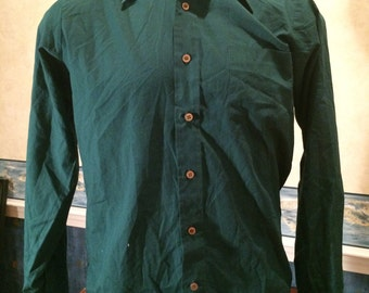 1970s Dress Shirt - Mens Green Long Sleeve Vintage Button Up from JC Penny size Large