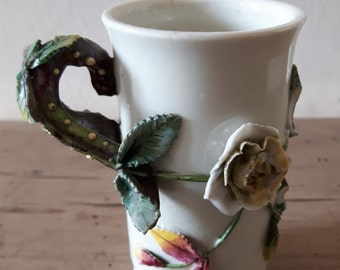 Victorian stoneware vessel /vase/cup with applied Roses and leaves with hand painted decoartion.