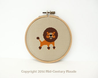 Lion Cross Stitch Pattern Mid Century Instant needlepoint download