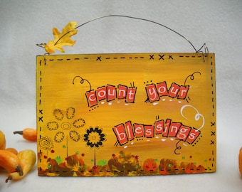 autumn fall harvest art wooden signs original mixed media painting art whimsical wall décor quotes wall art