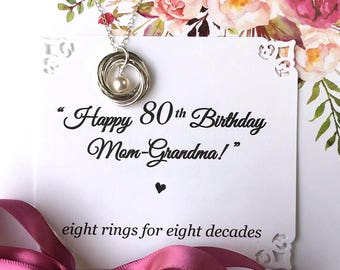 80th BIRTHDAY Gift for Mom Grandma Birthday Necklace for Grandma Sterling Silver 8 Rings for 8 Decades Connected Rings
