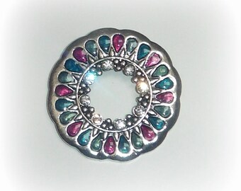 Purple/turquoise/green circle pendant & rhinestones