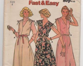 Vintage Pattern - 1980s Pattern - Dress With Gathered and Tied Shoulders - Butterick Pattern 6296 - Bust 80 cm
