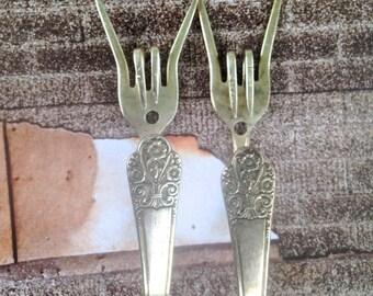 """Vintage """"I love you"""" upcycled Fork Coat Hooks...Love fork Coat hooks.... Unique home decor...hooks...upcycled forks..fork"""