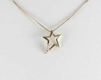 Gold over Sterling Star with Diamond Necklace 18 inch Chain