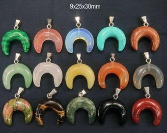 10pcs/lot Stone Double Horn Pendant,Crescent Moon Pendant,Ox Horn Pendant,Moon Pendant,Crescent Moon charm,mens pendant