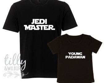 Jedi Master and Young Padawan Father Son Matching Shirts