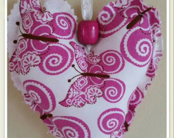 pink heart, stuffed heart, heart gifts,  butterfly heart, hanging heart, valentines day, mothers day, small gift