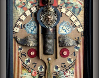 Original Assemblage Mixed Media Collage Wall Art