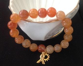 Beautiful 18k gold, Orange Carnelian - Skin Cancer Awareness Bracelet