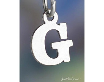 Sterling Silver Small Letter G Charm Initial Capital Letters Solid 925