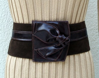 Asymmetric Chocolate Brown Vegan Leather and UltraSuede Belt