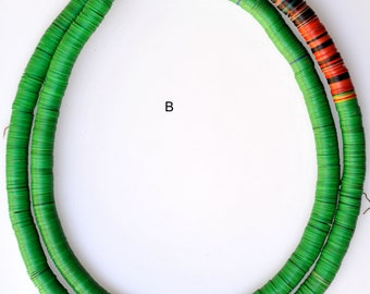 10mm Vintage African Vinyl Heishi Beads - Various Strands Available - 32-34 Inch Strand