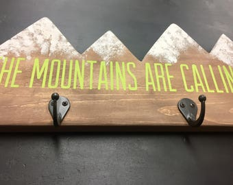 The Mountains Are Calling-Handpainted Coat Rack