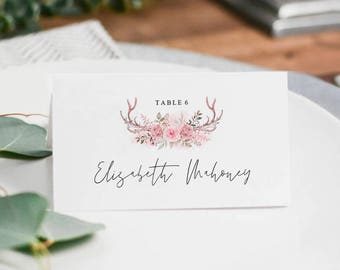 PC016 : Wedding Place Cards, Wedding Place Card Printable, Place Card Template, Wedding Printable, Rustic Wedding, PDF Instant Download