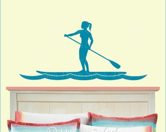 Female Stand Up Paddleboard Decal, SUP Sticker SP-134