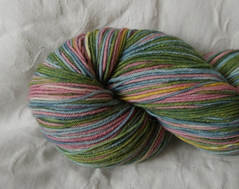 Pink/green/blue self-striping sock yarn