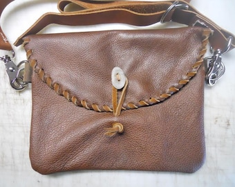 Leather Hip Bag - Pebble Grain Cowhide Waist Bag - Ladies Leather Bag - Bag with Buck Stitching - Custom Leather