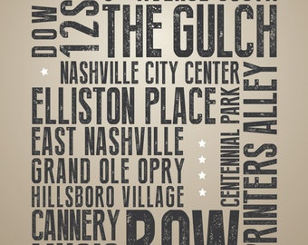 Nashville, Tennessee Points of Interest - Typography Print