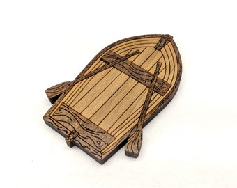 Rowboat, Laser Cut Stained Solid Poplar