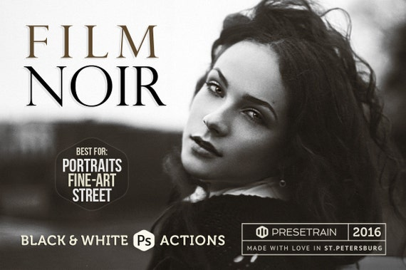 Film noir bw photoshop actions 6 premium dark black and