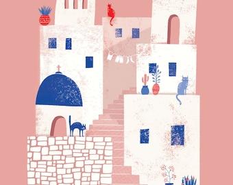 Greece Santorini art print, Summer Greek island print, Mykonos illustration, Cyclades, Naxos, Paros, Greece travel illustration, coral blue