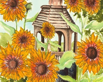 Print - Sunflowers and birdhouse