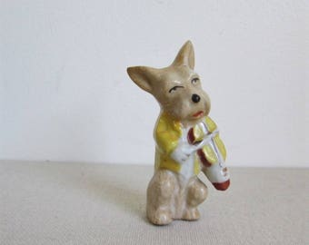 Occupied Japan Scottie / Westie Dog playing the fiddle