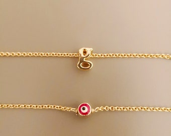 Necklace layered, dainty necklace, gold initial necklace, custom necklace, red evil eye charm, evil eye necklace, protection necklace