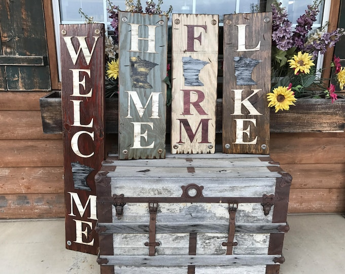 MINNESOTA STATE Sign Vertical, Indoor or Outdoor, Farm Home Lake or Welcome, Rustic Distressed Wood *Antique Red White Blue Xl Large Wall MN
