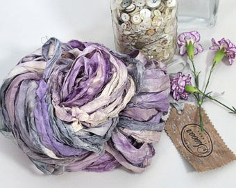 "Recycled Sari Ribbon ,by the yard, ""Lavender Chill"" hand dyed chiffon ribbon, jewelry making, doll clothing, spinning supplies"