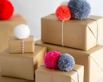 Pom Pom Gift Wrap Decoration - 5pk, Christmas Pom Poms, Gift Embellishments