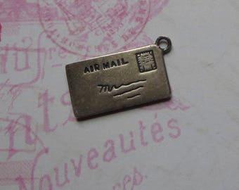 Vintage Sterling Charm Airmail Envelope Love Letter with Red Enamel Heart, Circa 1940's, For Love, Charm Bracelet