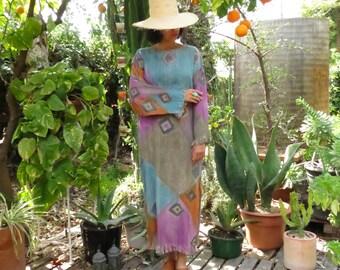Vintage Desert Prism Raw Silk Dress / Kaftan / Silk