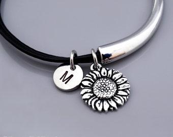 Sunflower Bangle, Sunflower bracelet, Flower charm, Sun flower bracelet, Garden, Leather bracelet, Leather bangle, Personalized bracelet