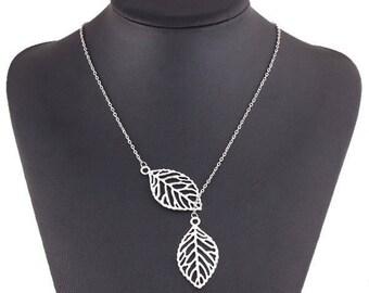 leaf pendant fine silver necklace