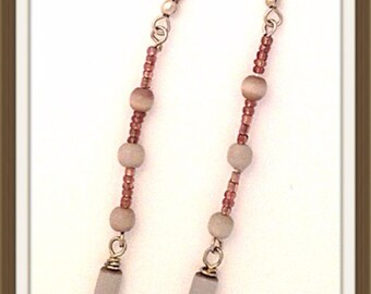 Handmade MWL long dangle light purple earrings. 0067