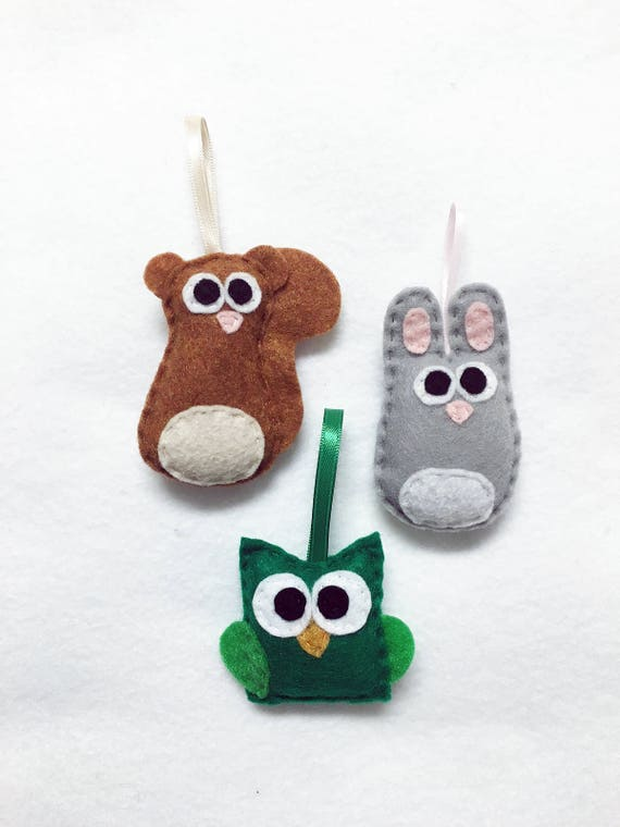 Baby Animal Ornaments, Squirrel, Owl, Rabbit - Set of Three Ornaments, Birthday Favors, Rustic Decoration, Christmas Ornament