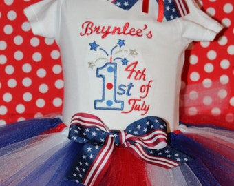 Fourth of July, 4th of July, Independence day, baby girl clothes, bodysuit, baby shower gift, new baby gift, personalized, red, white, blue