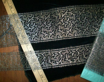 Metallic Silver/black silk lace 1910s authentic yardage by the yard amazing design