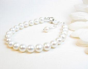 5mm Pearl Flower Girl Bracelet - Flower Girl Jewelry Gift - Little Girl Freshwater Pearl Bracelet - Child Classic White Ivory Real Pearl