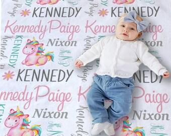 Personalized Unicorn Blanket - Baby Girl Swaddle - Custom Baby Blanket - Baby Receiving Blanket - Baby Photo Prop - Newborn Swaddle Blanket